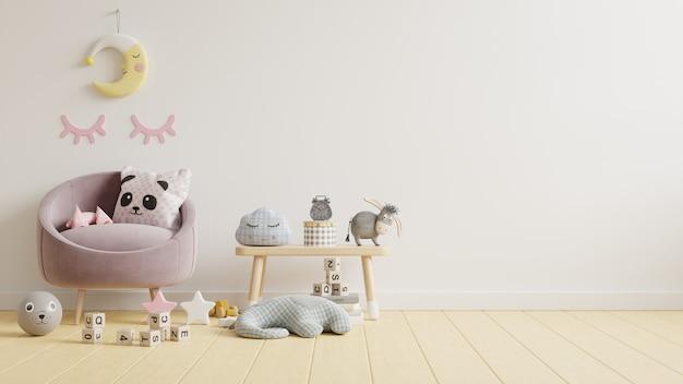Simulacros de pared en la habitación de los niños con sofá en fondo de pared de color blanco claro, representación 3d