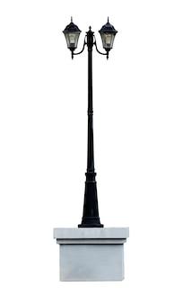 Simulacros de poste de lámpara aislado sobre fondo blanco con trazado de recorte