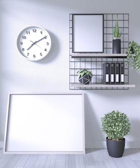 Simulacros de póster y decoración de oficina en la habitación pared blanca sobre piso de madera blanca