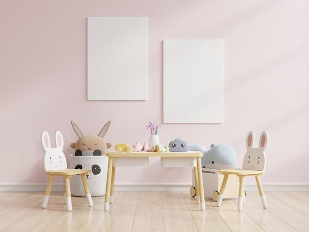 Simulacros de póster en el dormitorio de los niños en colores pastel sobre fondo de pared rosa vacía, renderizado 3d