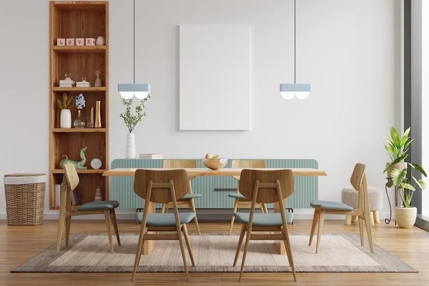 Simulacros de póster en el moderno diseño de interiores de comedor con pared blanca vacía