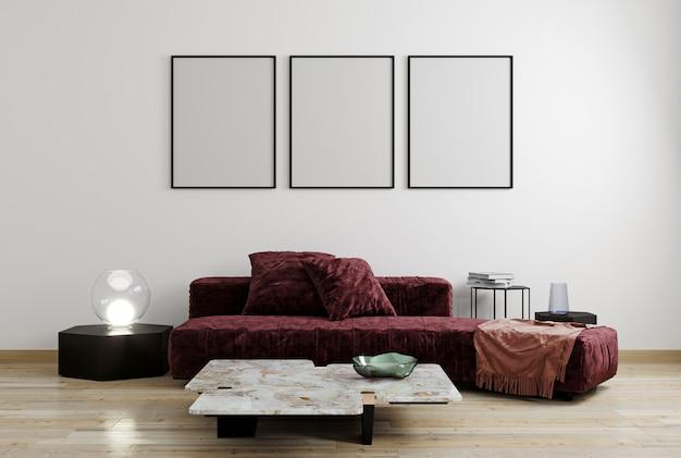 Simulacros de póster en la pared blanca, rojo, muebles modernos vinosos, diseño minimalista, render 3d