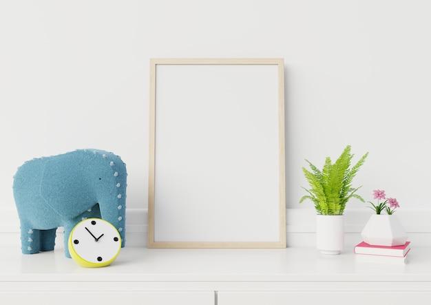 Simulacros de póster en la pared blanca de la sala de estar, infancia, representación 3d.