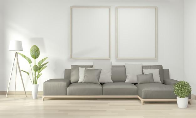 Simulacros de póster en la sala de estar con sofá amarillo y plantas decorativas en el piso