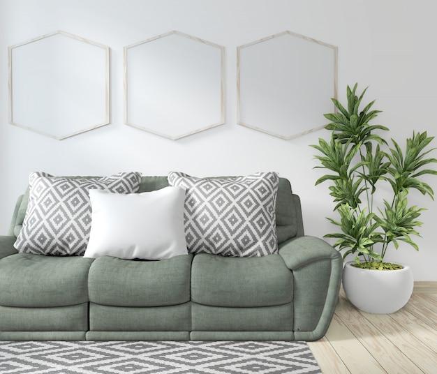 Simulacros de sala de póster con sofá verde y plantas decorativas