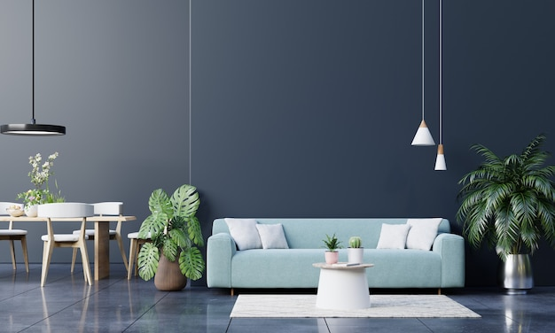 Simulacros de sofá de pared oscura y accesorios en la sala de estar. representación 3d