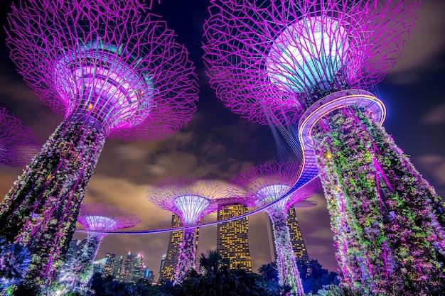Singapur - 11 de febrero de 2017: paisaje urbano de singapur en la noche en singapur.