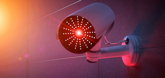 Sistema de cámaras de seguridad cctv - renderizado 3d