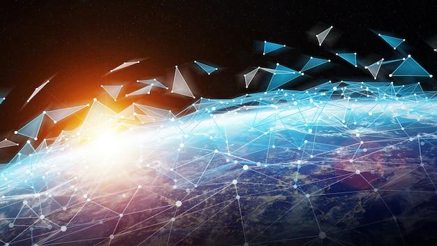 Sistema de conexiones e intercambio de datos en el planeta tierra representación 3d