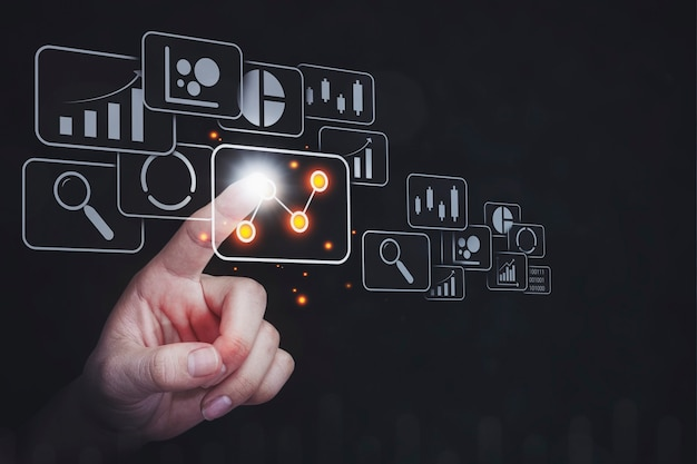 Sistema de gestión y análisis de datos con concepto de análisis empresarial