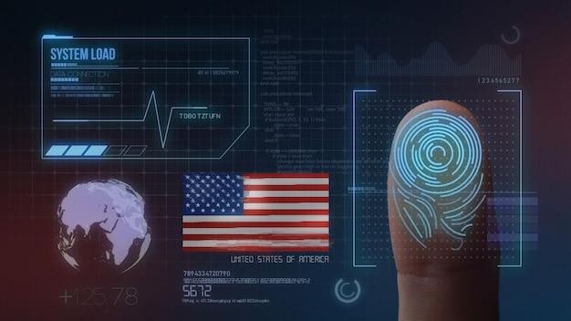 Sistema de identificación biométrica de escaneo de huellas digitales nacionalidad de los estados unidos de américa