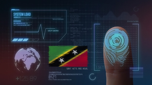 Sistema de identificación biométrica de escaneo de huellas digitales san cristóbal y nieves nacionalidad