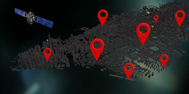 Sistema de internet por satélite de comunicación pines gps ilustración 3d de la ciudad de nueva york