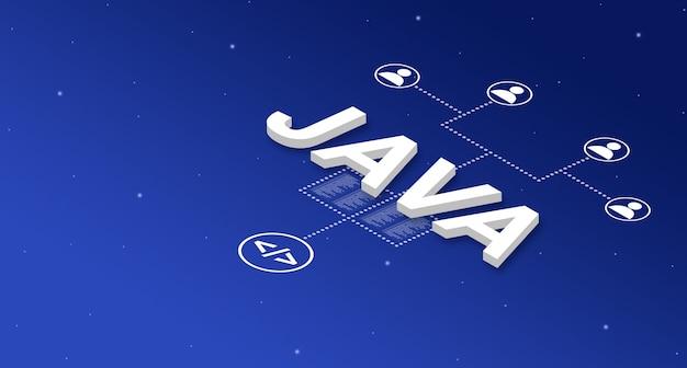Sistema de lenguaje de programación java con iconos de usuario 3d