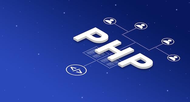 Sistema de lenguaje de programación php con iconos de usuario 3d