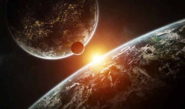 Sistema de planeta distante en el espacio con exoplanetas renderizado 3d