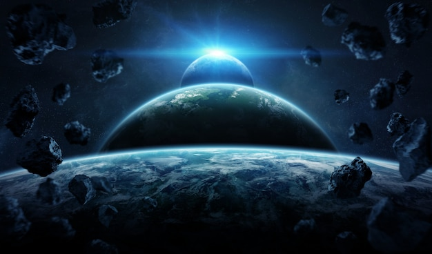 Sistema planetario distante en el espacio con exoplanetas.