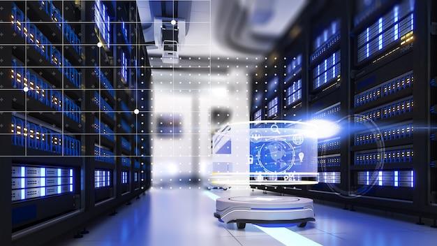 Sistema robótico los robots móviles ayudan a trabajar en el lugar de trabajo servidor robot móvil ayuda a la comunicación