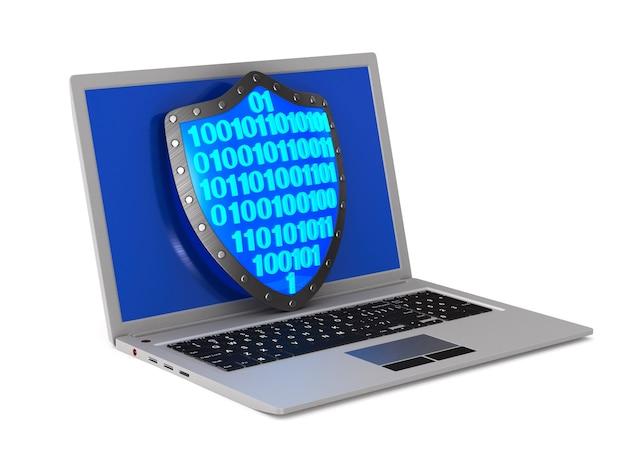 Sistema de seguridad y laptop. representación 3d aislada