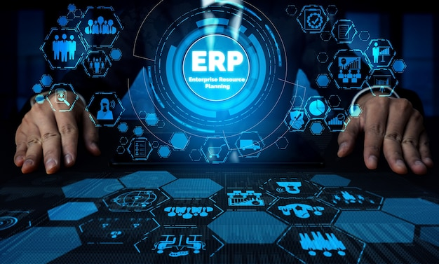 Sistema de software erp enterprise resource management para plan de recursos comerciales