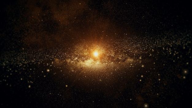 El sistema solar con estrellas y el sol.
