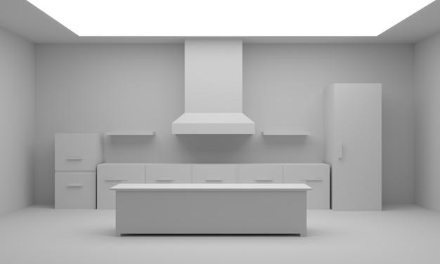 Sitio de la cocina del fondo., representación 3d.