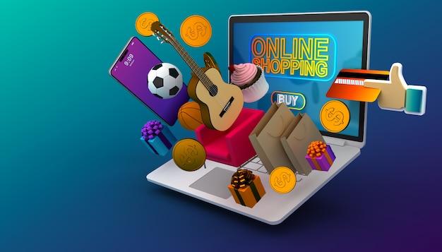 Sitio web de compras en línea en la computadora portátil, comercio electrónico fácil, ilustración de representación 3d.
