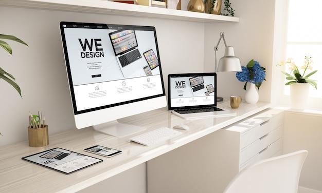 Sitio web receptivo en la pantalla de dispositivos configuración de la oficina en casa representación 3d