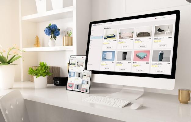 Sitio web de la tienda online en la configuración de la oficina en casa representación 3d
