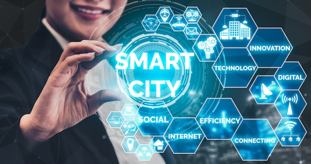 Smart city y concepto de tecnología de internet.