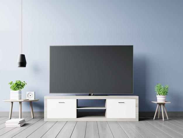 Smart tv en el soporte y el fondo oscuro de la pared. representación 3d