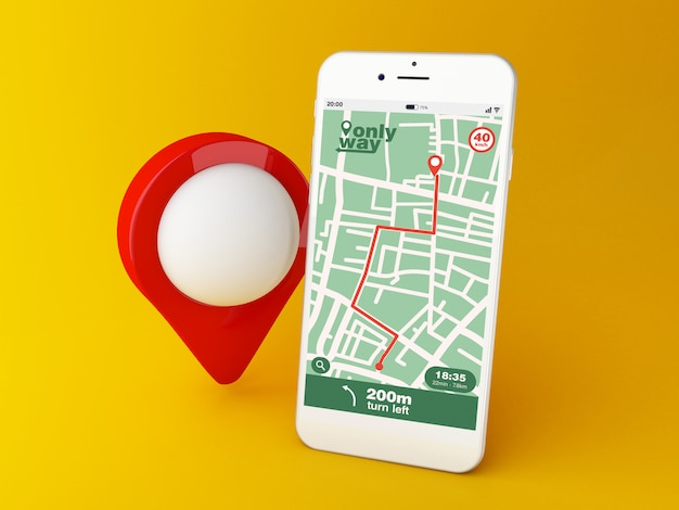 Smartphone 3d con aplicación de navegación por mapa gps con ruta planificada en la pantalla