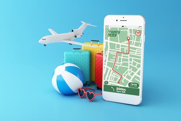 Smartphone 3d con aplicación de navegación por mapa gps con ruta planificada
