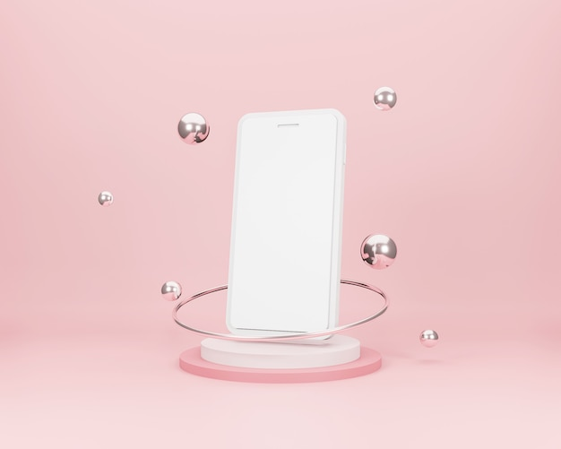 Smartphone 3d con formas geométricas sobre un fondo mínimo