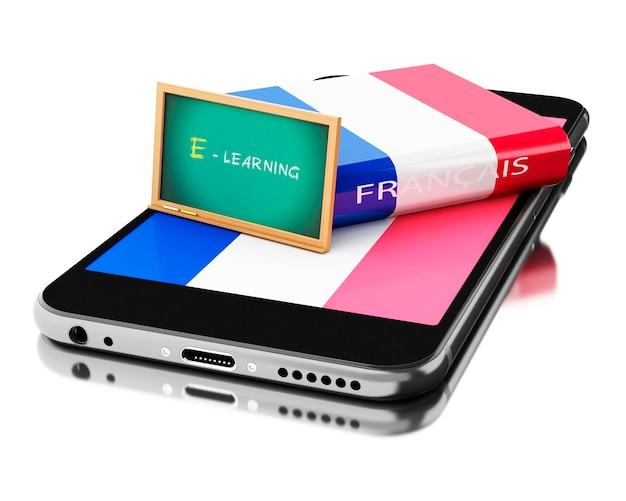 Smartphone 3d con el libro francés. aprendiendo idiomas.