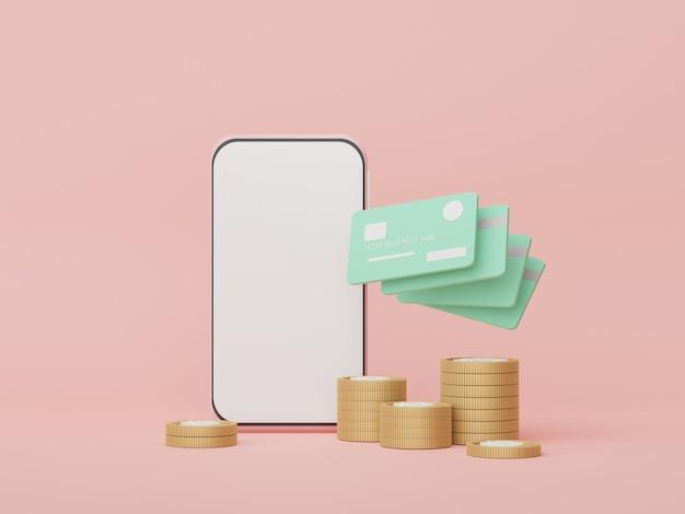 Smartphone 3d con tarjetas de crédito conceptos de dinero planificación financiera franquicias de gestión de patrimonio