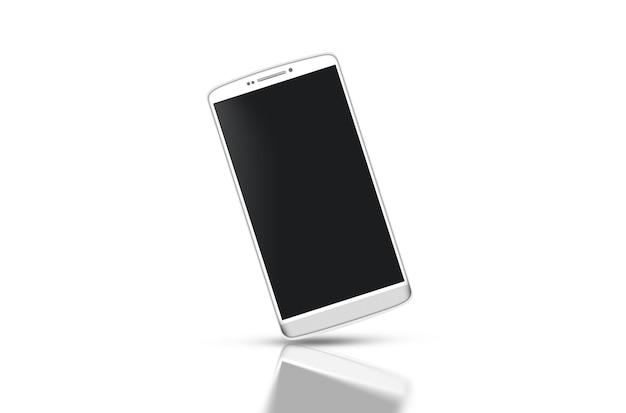 Smartphone blanco en blanco con maqueta de pantalla negra aislado