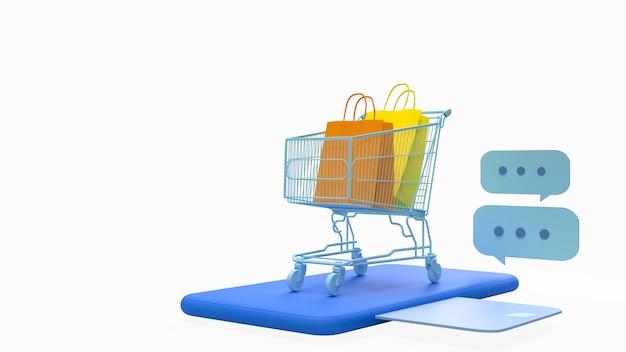 Smartphone con bolsa de compras, tarjeta de crédito o débito para el concepto de compra en línea