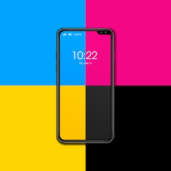 Smartphone cmyk aislado sobre fondo de color. render 3d