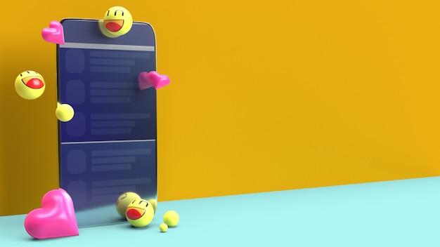 Smartphone con emojis 3d