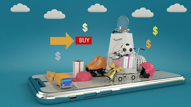 Smartphone para ingresar contenido rodeado de bolsas de compras, carritos de compras, representación 3d