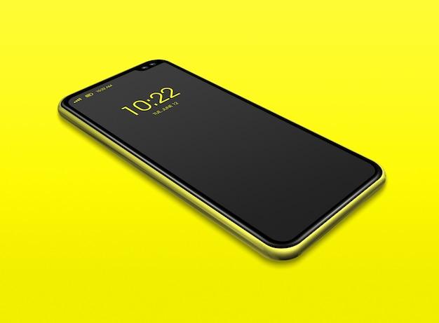 Smartphone negro de pantalla completa aislado en amarillo. render 3d
