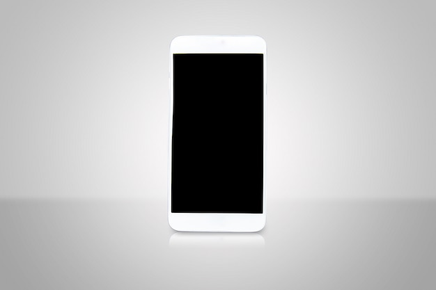 Smartphone con pantalla en blanco para hacer plantilla de publicidad de arte o folleto.
