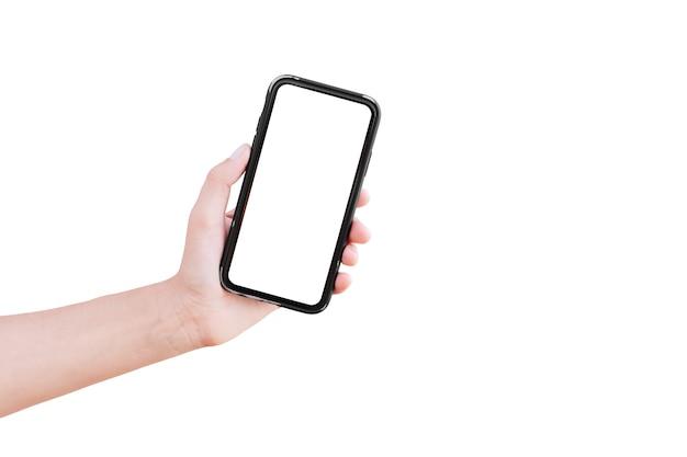 Smartphone con pantalla en blanco en la mano del hombre, aislado.