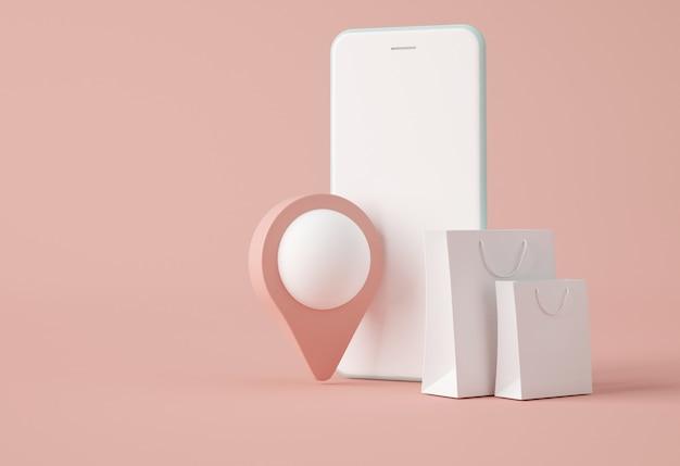 Smartphone con puntero de mapa y bolsa de papel.