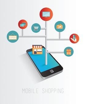 Smartphone que accede al concepto minorista en línea