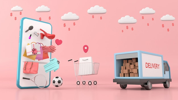Smartphone rodeado de bolsas de compras, camión de reparto y ropa