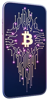 Smartphone con símbolo de bitcoin y placa de circuito en pantalla. el concepto de minería y comercio móvil.