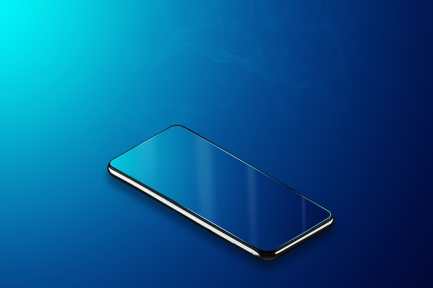 Smartphone sobre un fondo azul, isometría. nuevas tecnologías.