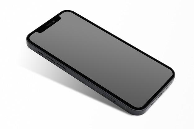 Smartphone con tecnología futura innovadora de pantalla negra en blanco